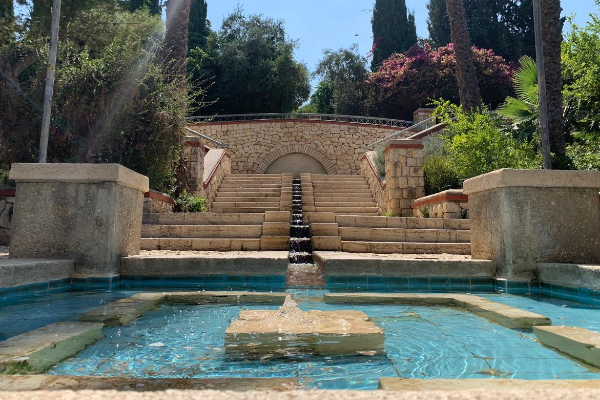 A large fountain in Yemin Moshe