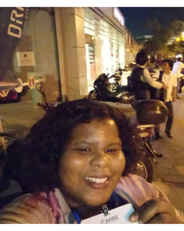 Dr. Janelle Christine Simmons outside a restaurant in Israel at night