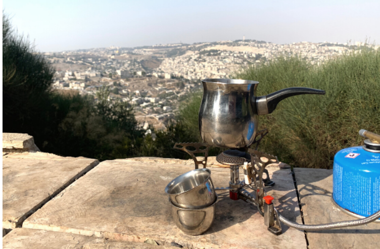 A pakal kafe set up on Tayelet Armon HaNatziv overlooking Jerusalem