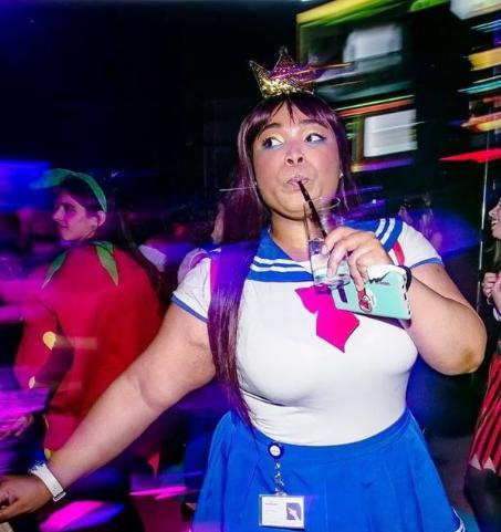 Olah Kielah'Tiel W.A Barton wearing a Sailor Moon costume at a party