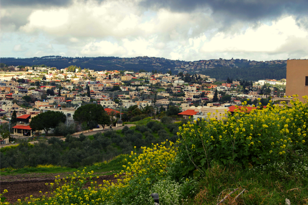 View overlooking a town with hills in the background