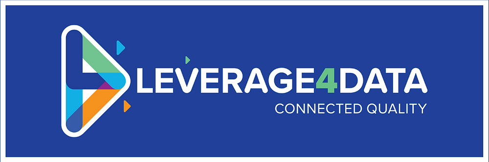 The image contains the Leverage4Data Logo on a blue background. The Icon is a mashup of an L, a 4 and a D.