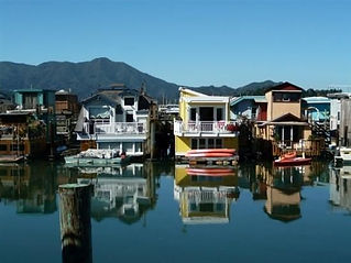 Houseboats of Sausalito, a typical place where our business people work, while we collect mail and packages for them.