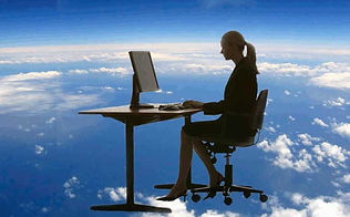 This photo represents a typical customer, working remotely or in the cloud, away from distraction while we take care of their business mail and atten to the public.