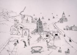 Burmese Maze, ink on paper, 70x110 2016