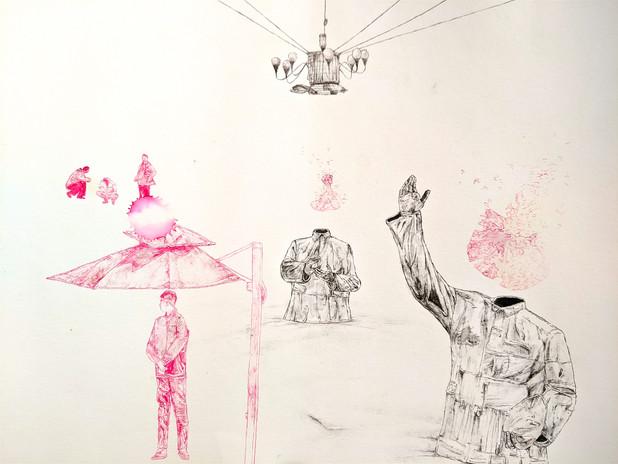 The Umbrella. ink on paper. 24x32cm.