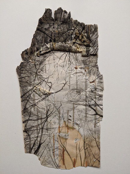 Up In The Air. Watercolour on birch bark