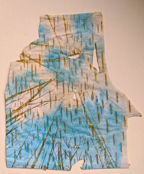 A Silver Lining. Watercolour on birch ba