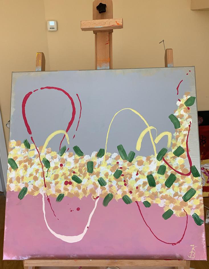 Acryl und Pastellkreide auf Leinwand 70x70