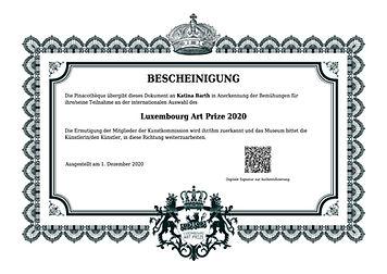 Bescheinigung der Teilnahme am Luxembourg Art Prize 2020