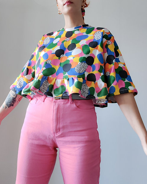 Rainbow frilled top (S/M & XL)