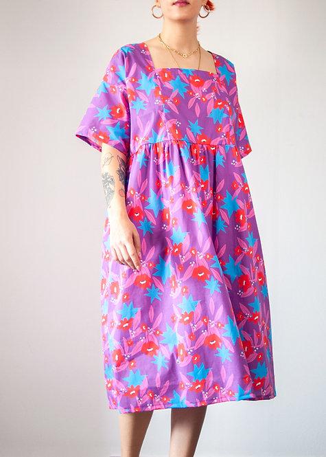 'Purple Haze' Square Neck Midi Smock Dress