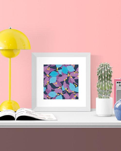 'Lemony Blue' 21cm square print