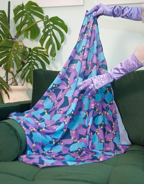 """Lemony Blue"" 80x80cm square scarf"