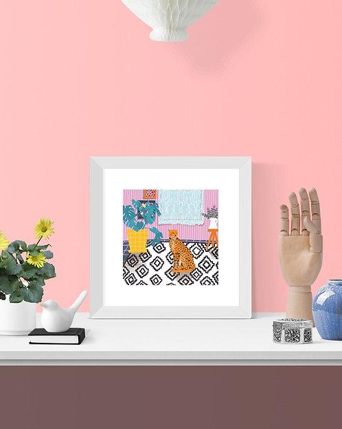 'Living room wild cat' 21cm square print