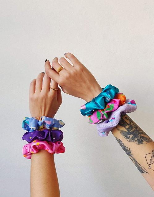 Big fluffy colourful scrunchies