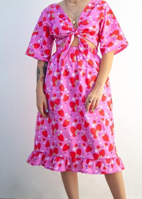 """""""Strawberries"""" midi skirt in organic cotton"""