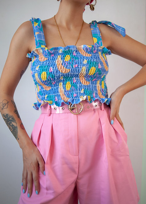 """Banana Split"" shirred tube top"