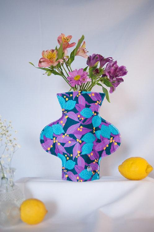 """Lemony Blue"" print textile vase"