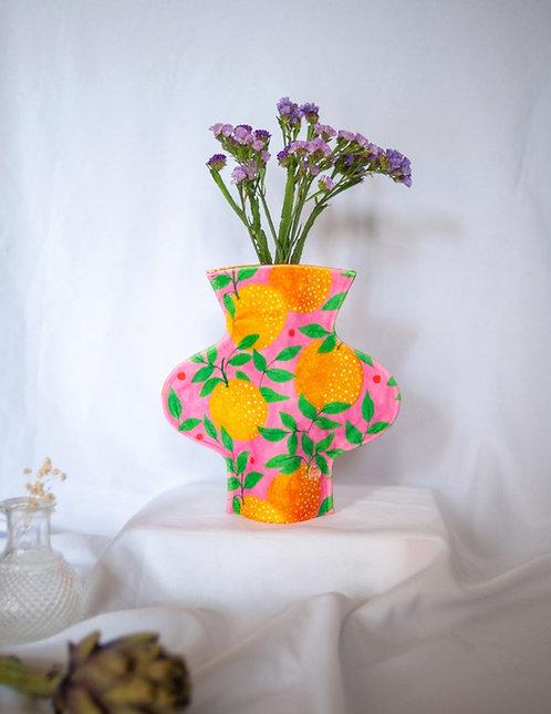 """Orange Garden"" print textile vase"