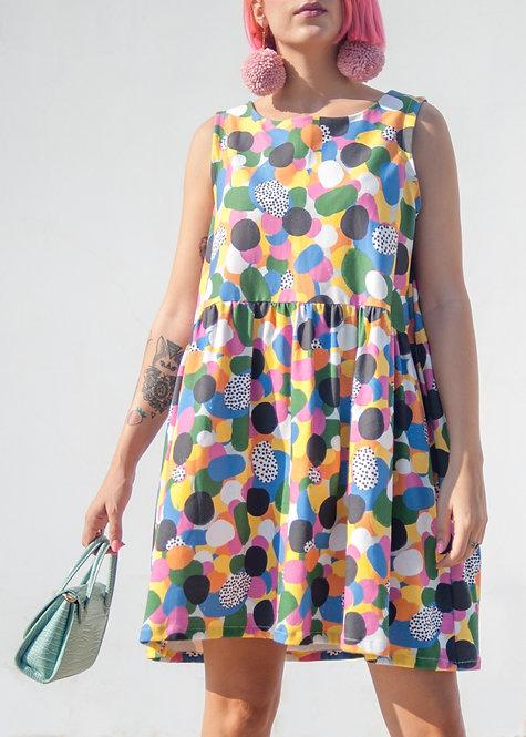 'Deconstructed Rainbow' Organic Cotton smock dress