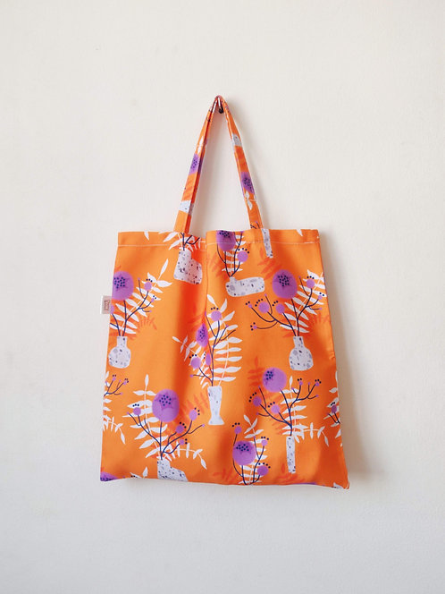 'Orange wildflower' print reusable tote bag