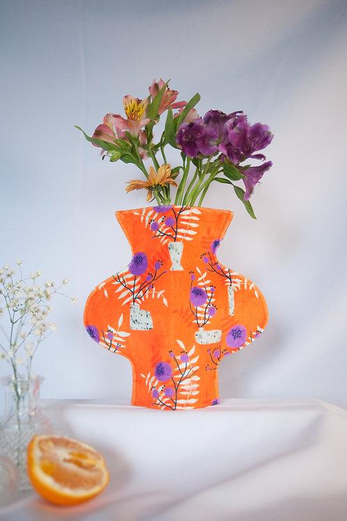 """Orange wild flower"" print textile vase"