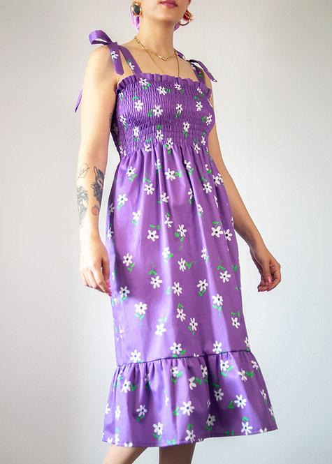 """""""Daisy dream"""" shirred midi dress in organic cotton"""