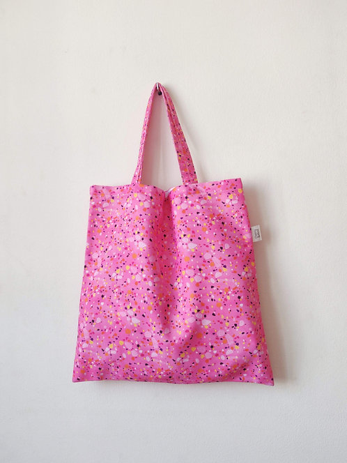 'Pink Terrazzo' print reusable tote bag
