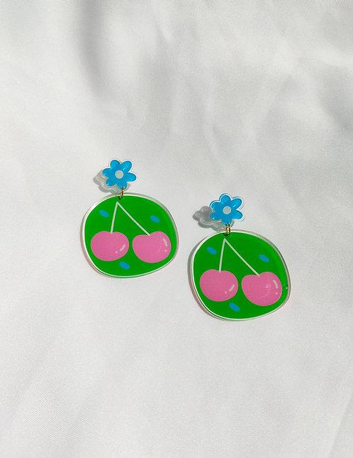 """Cherries"" acrylic statement earrings"
