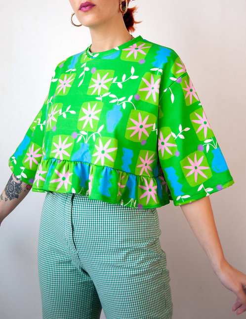 """Green Daisies"" organic cotton knit frill top"