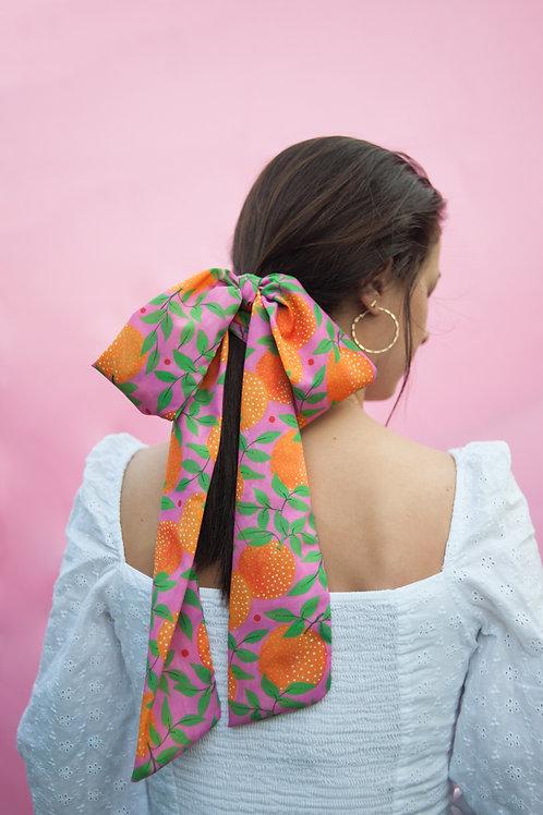 """Multipurpose skinny scarf in """"Orange garden"""" print"""