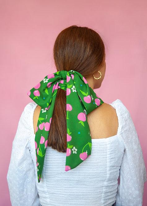 """Multipurpose skinny scarf in """"Pink Cherries"""" print"""