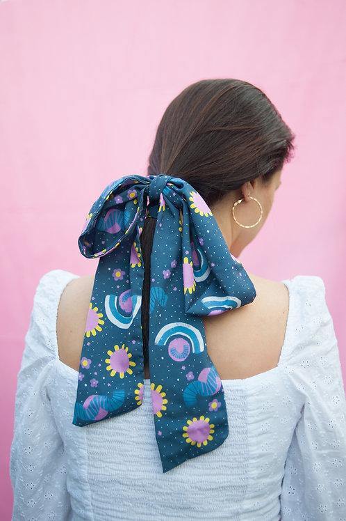 "Multipurpose skinny scarf in ""Cosmic garden"" print"