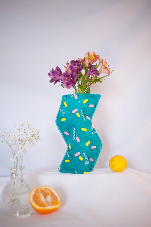 """Blue Fizz"" print zig-zag textile vase"