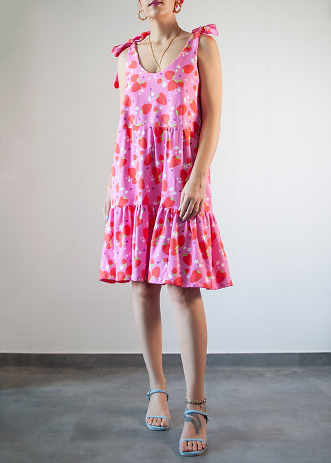 'Strawberries' Organic Cotton smock dress