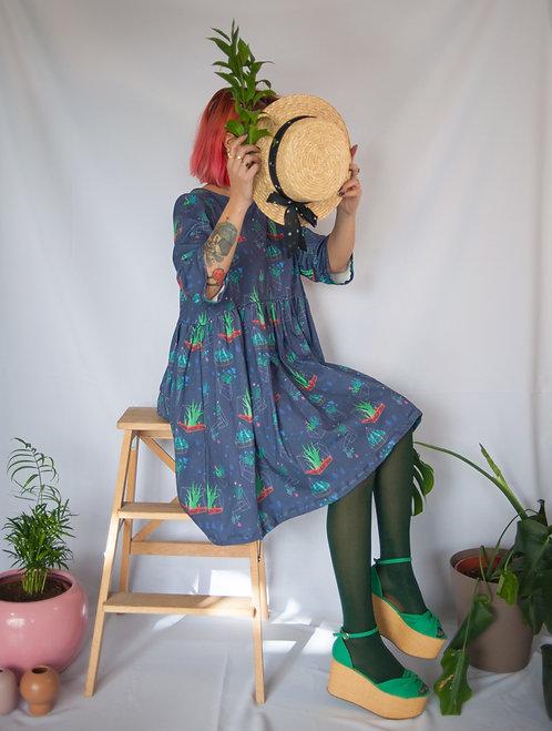 'Plant constellation' Organic Cotton midi smock dress