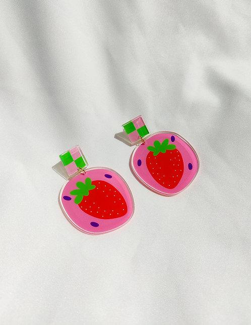 """Strawberry"" statement acrylic earrings"