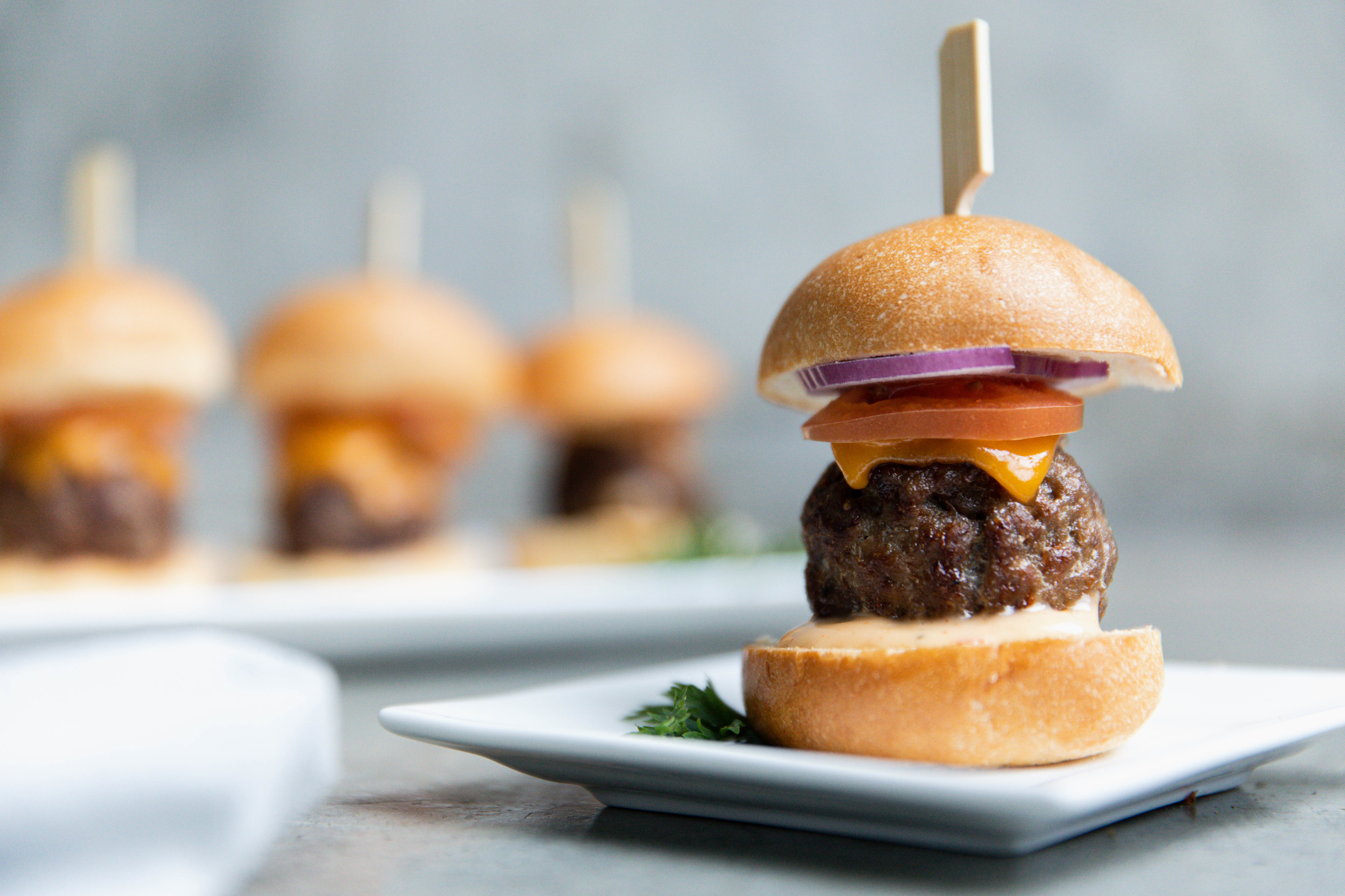 Classical meat-ball cheese burger slider