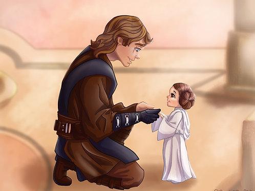 Anakin Skywalker and Baby Princess Leia Original Art Print