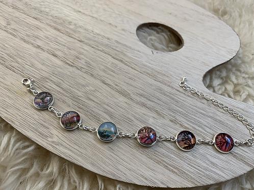 Six Joshua tree glass and silver bracelet