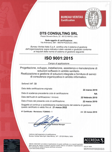 Certifcazione ISO 9001:2015 DTS Consulting
