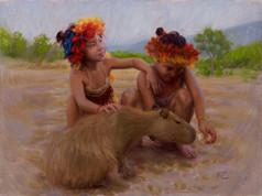 Macuxi Girls with Capibara