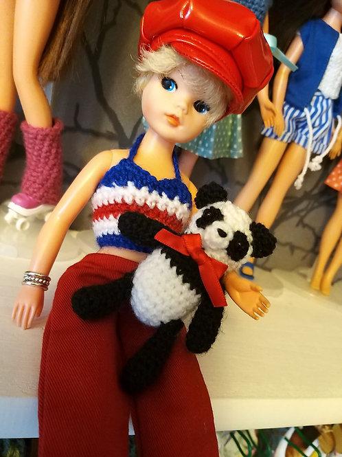 Mini Panda crochet pattern, UK terms