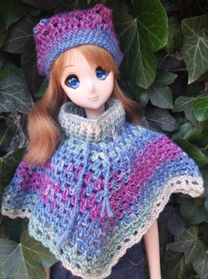 Poncho and hat set for Smartdoll