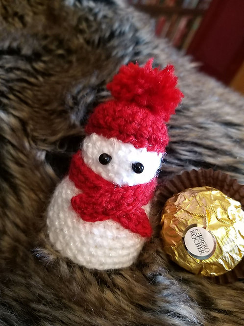 Crochet Pattern for a snowman to cover a Ferrero Rocher Single Chocolate