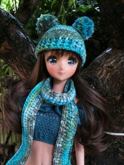 Smartdoll Crochet Double Pompom Hat and Scarf pattern