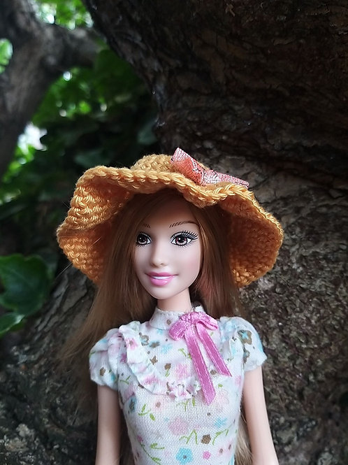 Crochet barbie Sun hat with bow detail