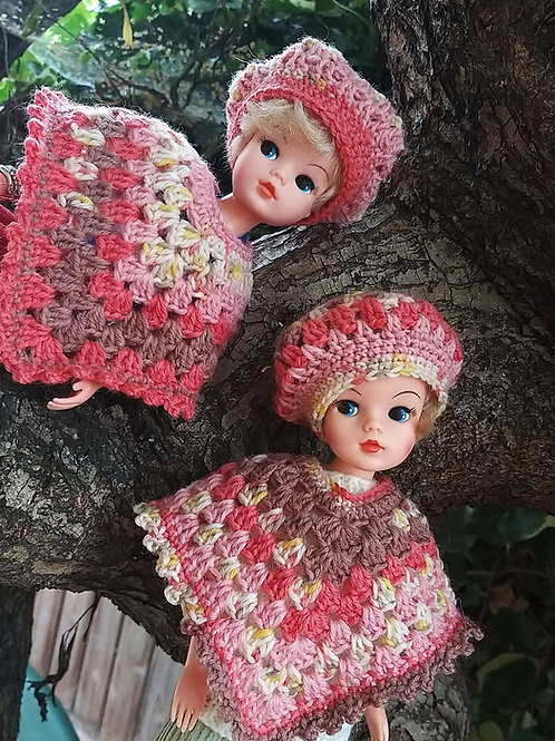 Sindy Doll Pncho and Hat crochet pattern