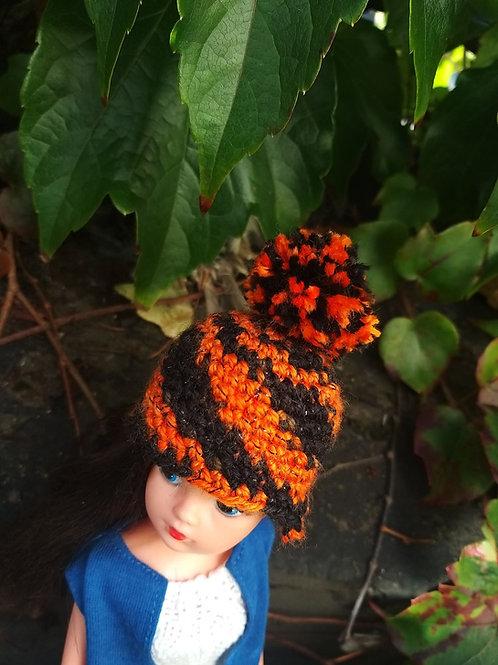 Pompom Hat for Sindy in orange and black